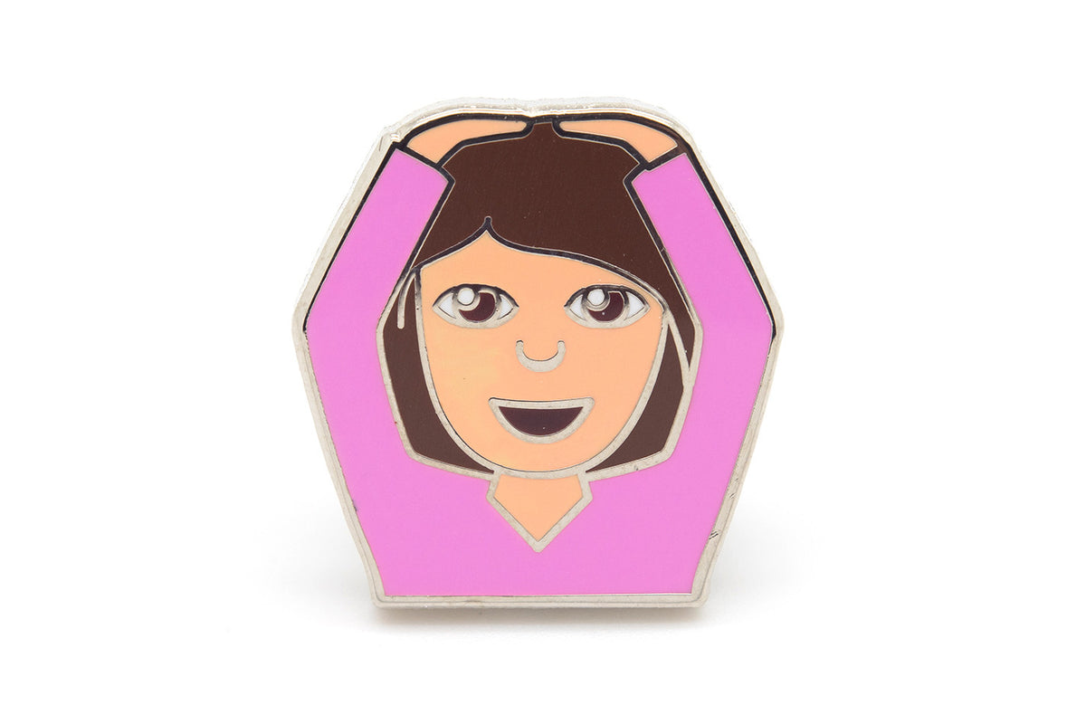Hands on Head Girl Pin