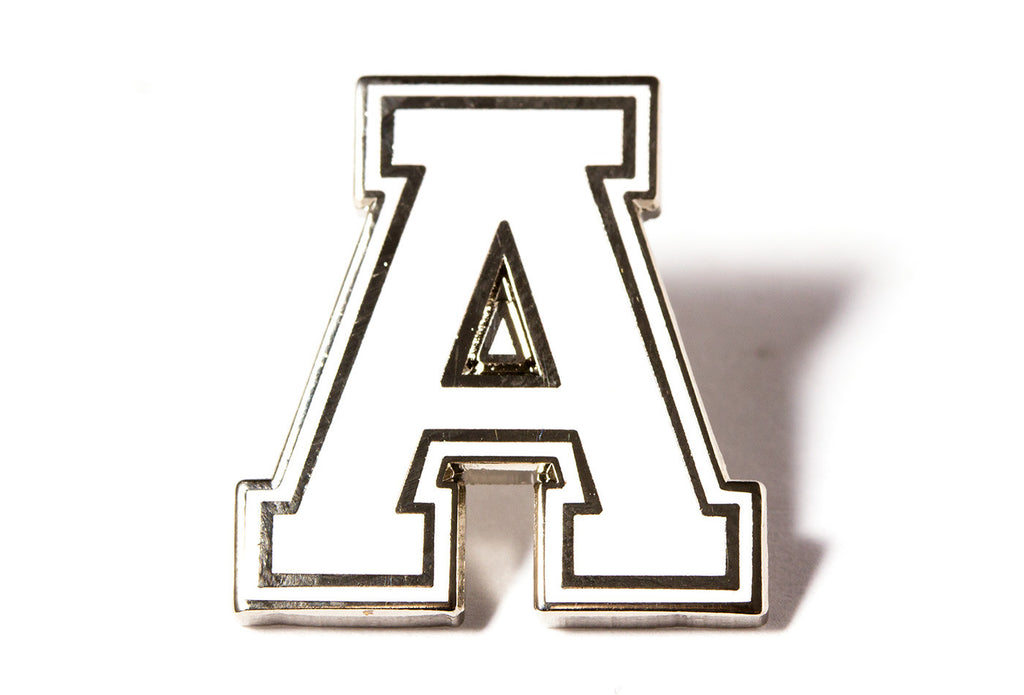 varsity letter pins white and silver
