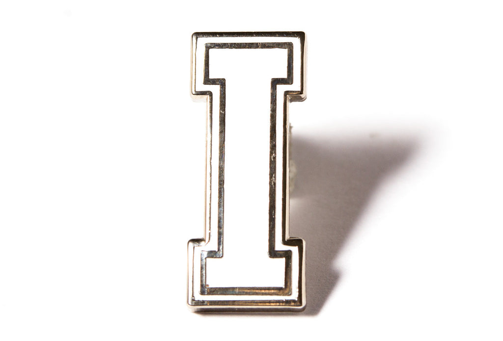 Varsity Letter Pins - White and Silver