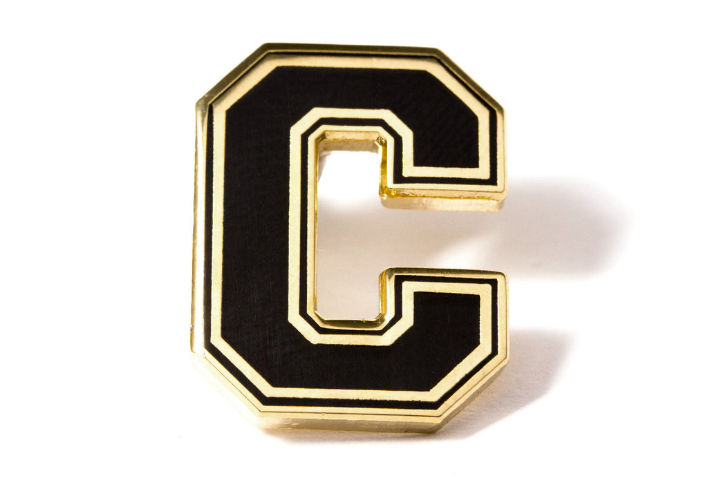 Varsity Letter Pins - Black and Gold