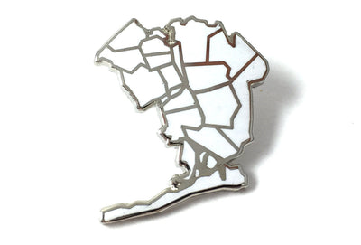 Queens Borough Pin - White and Silver