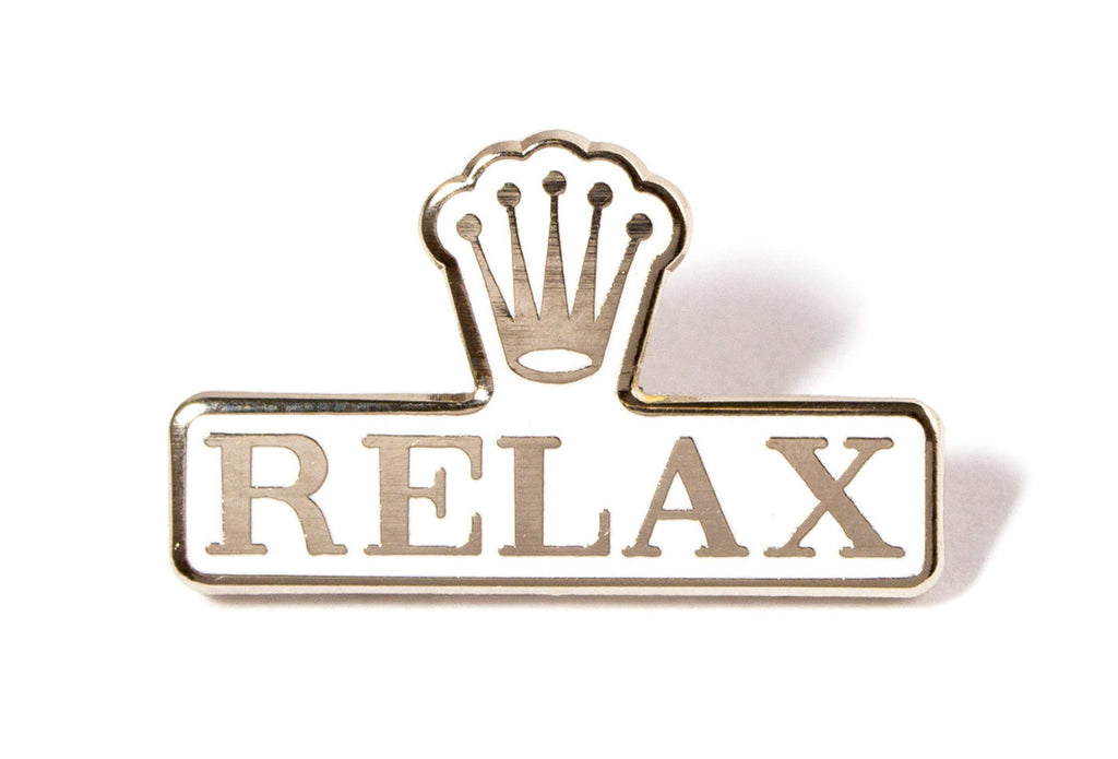 Relax Pin - White and Silver
