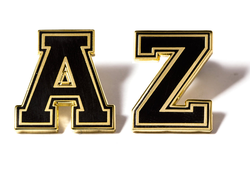varsity letter pins black and gold