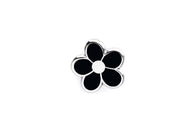 Mini Flower Pin - Black and Silver