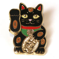 Black Lucky Cat Pin