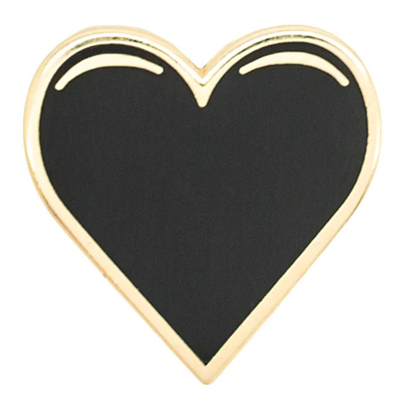 Black and Gold Heart Pin
