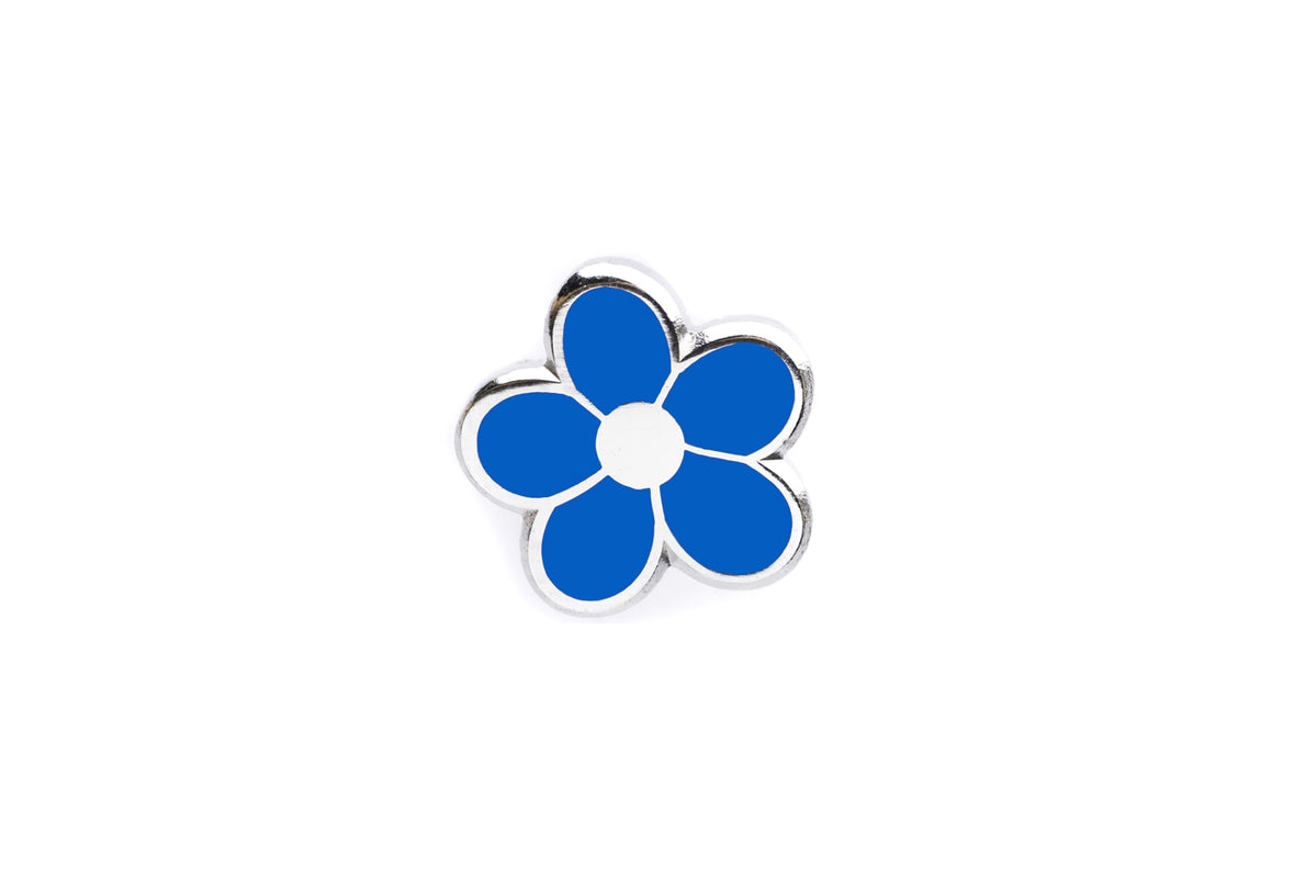Mini Flower Pin - Blue and Silver