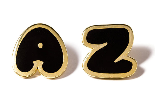 Bubble Letter Pins - Black and Gold
