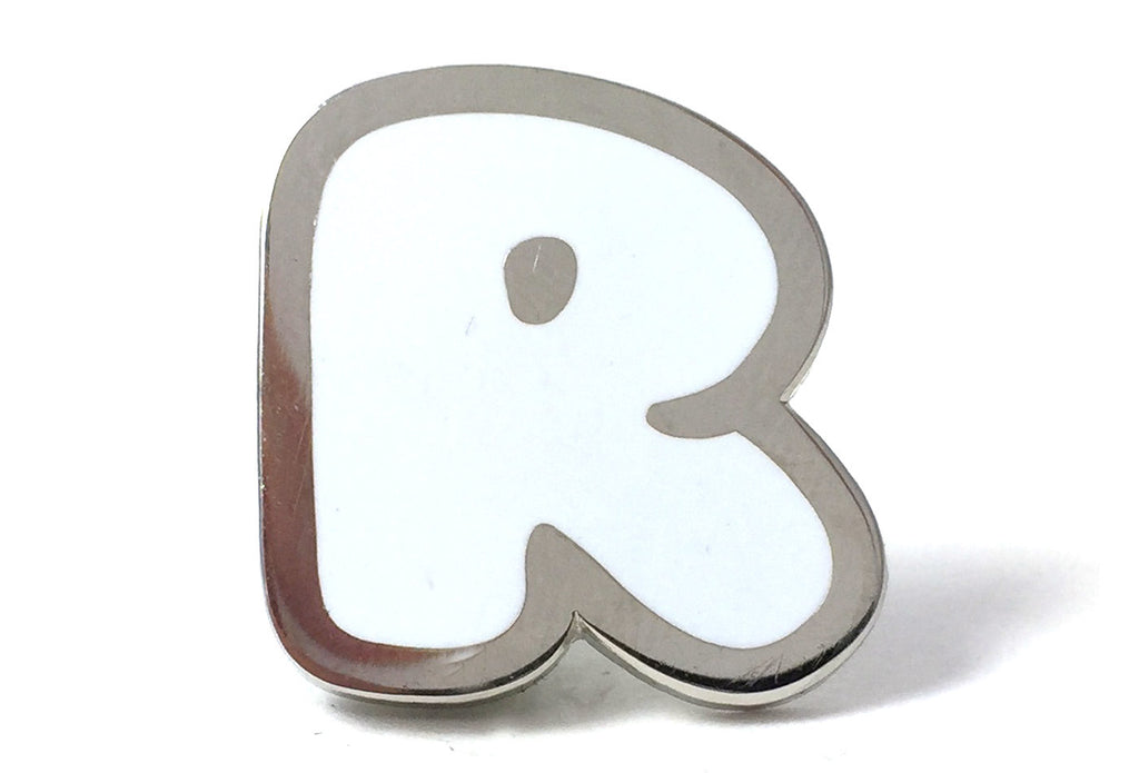 Bubble Letter Pins - White and Silver