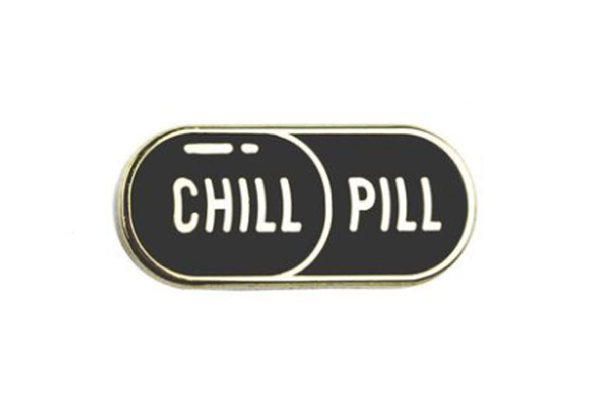 Chill Pill Pin - Black and Gold