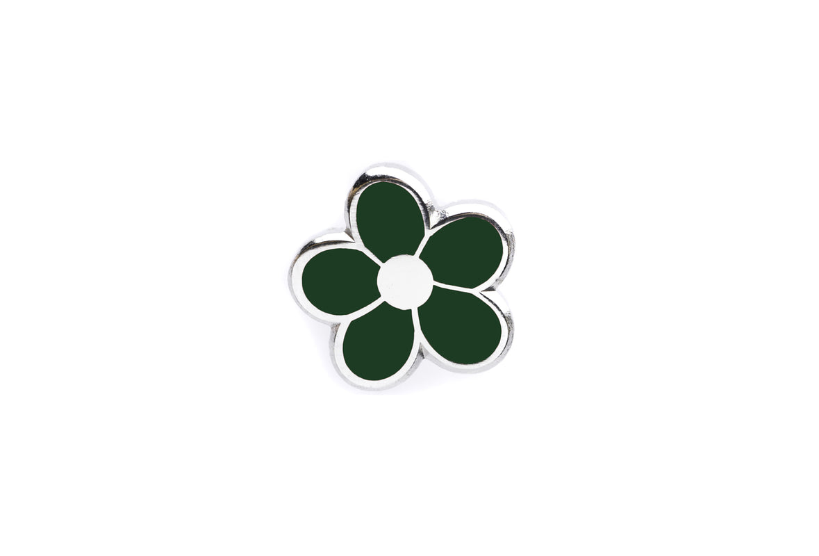 Mini Flower Pin - Dark Green and Silver