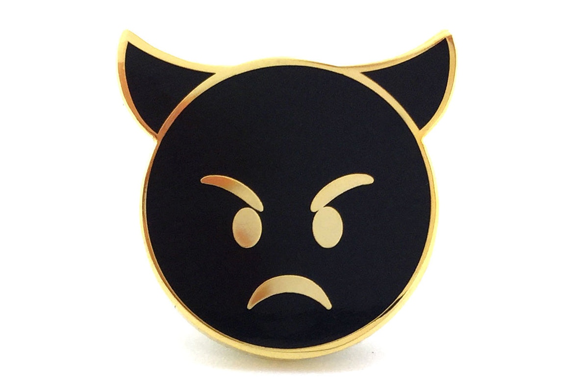 Angry Devil Pin - Black and Gold