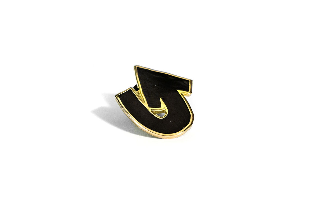 Heads Up Pin - Black and Gold