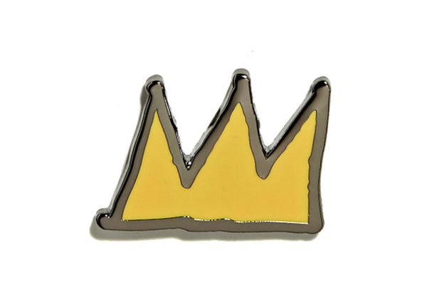 Jean-Michel Basquiat - Crown Pin - Yellow on Black