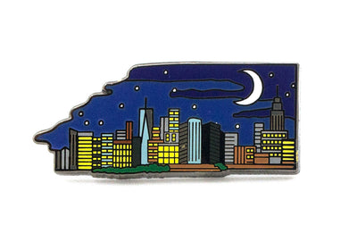 Manhattan Skyline Night Pin