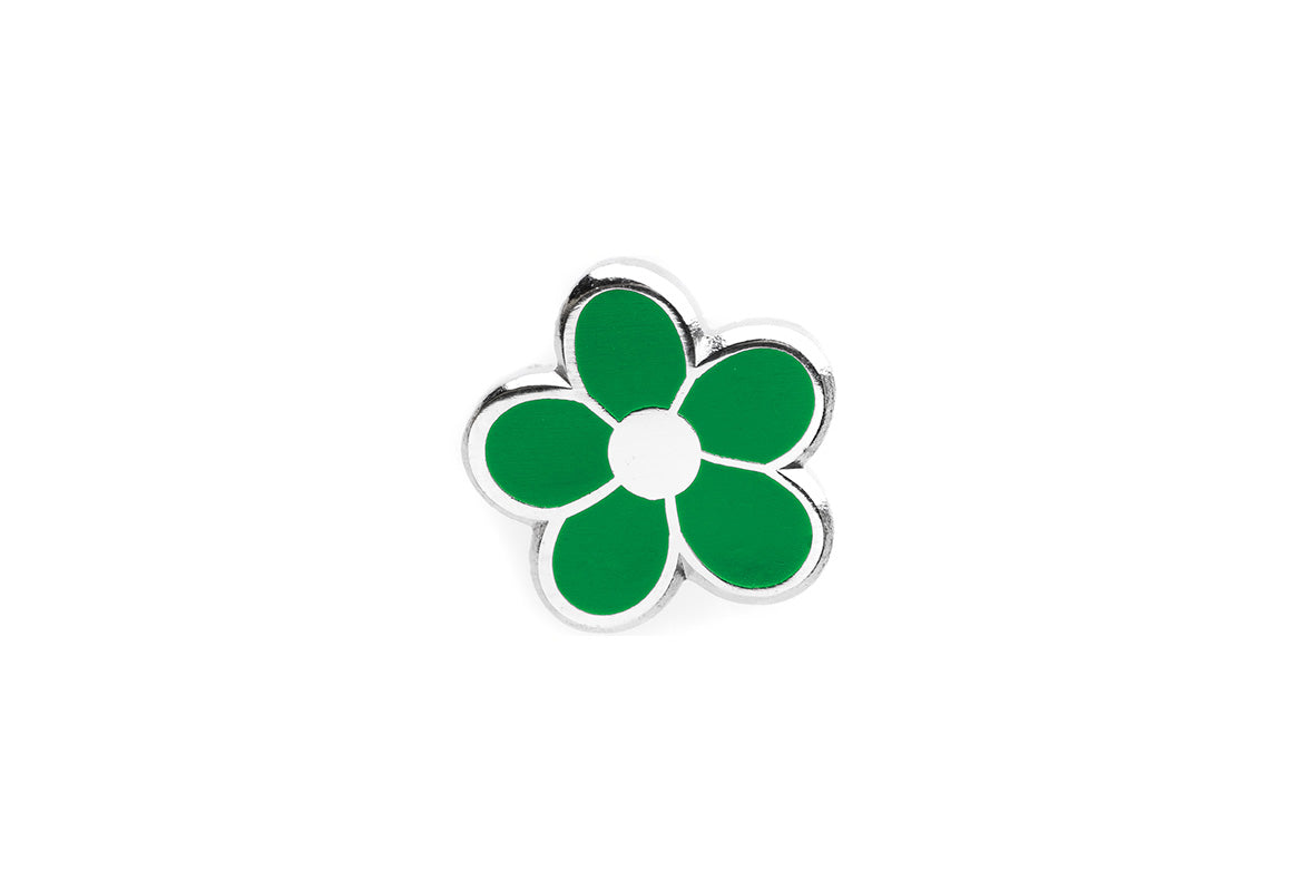 Mini Flower Pin - Green and Silver