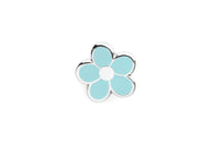 Mini Flower Pin - Light Blue and Silver