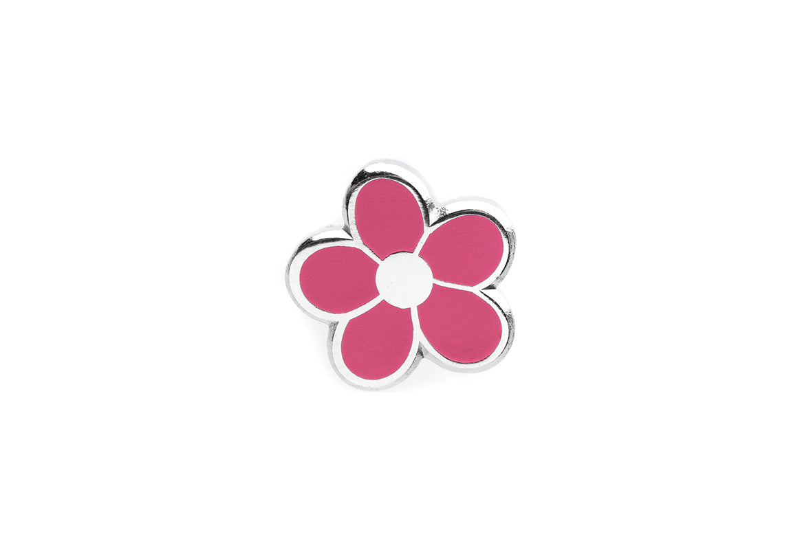 Mini Flower Pin - Pink and Silver