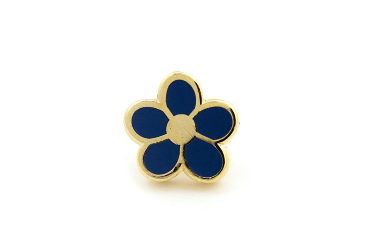 Mini Flower Pin - Blue and Gold