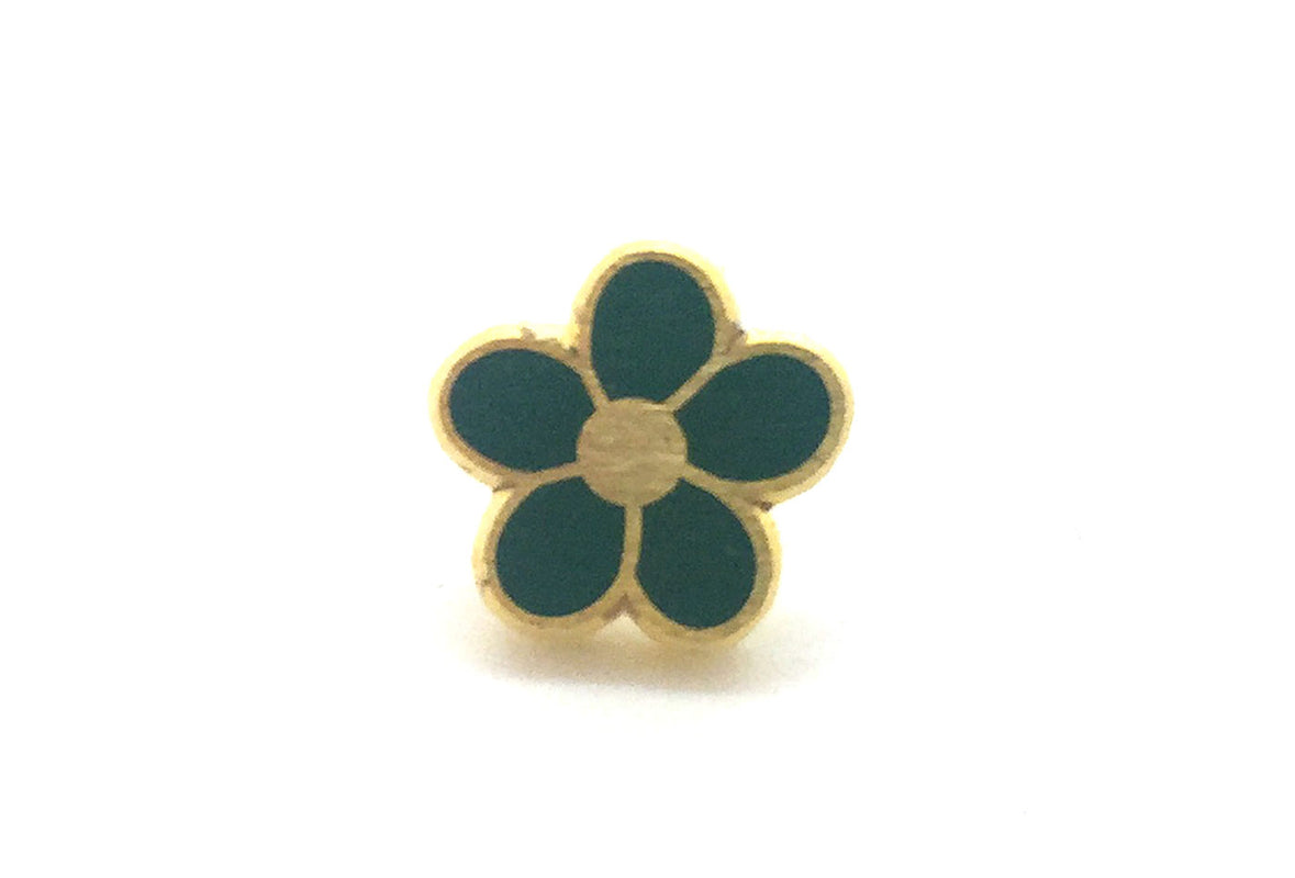 Mini Flower Pin - Green and Gold