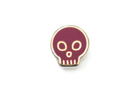 Mini Skull Pin - Magenta and Silver