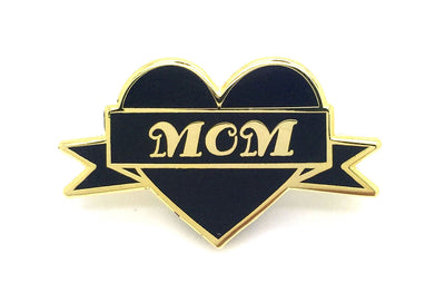 Mom Heart Pin - Black and Gold