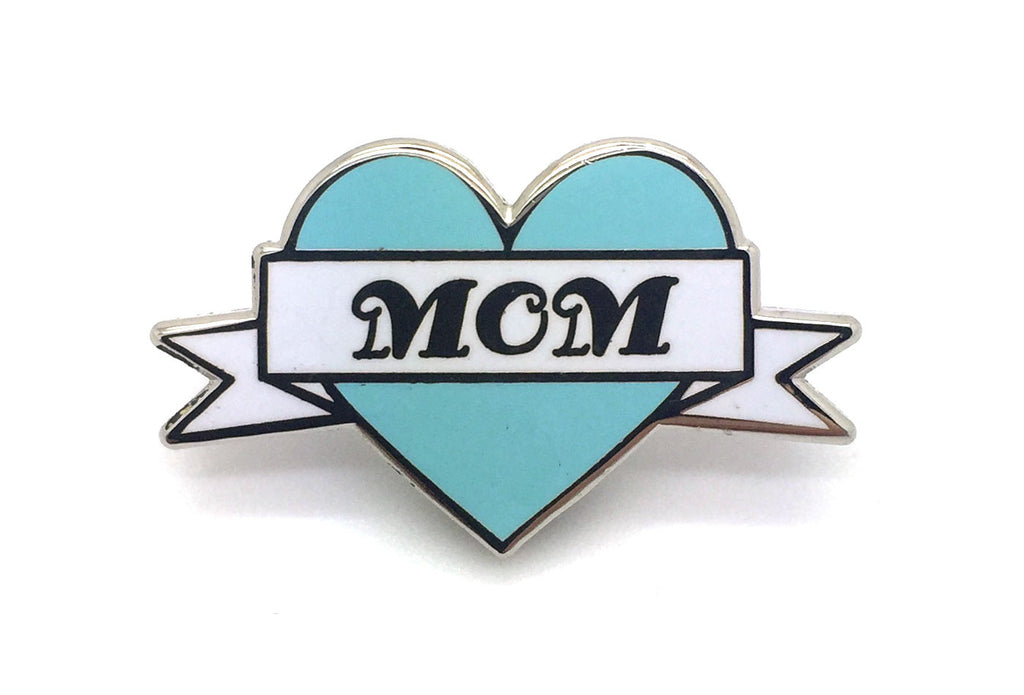 Mom Heart Pin - Blue and Silver