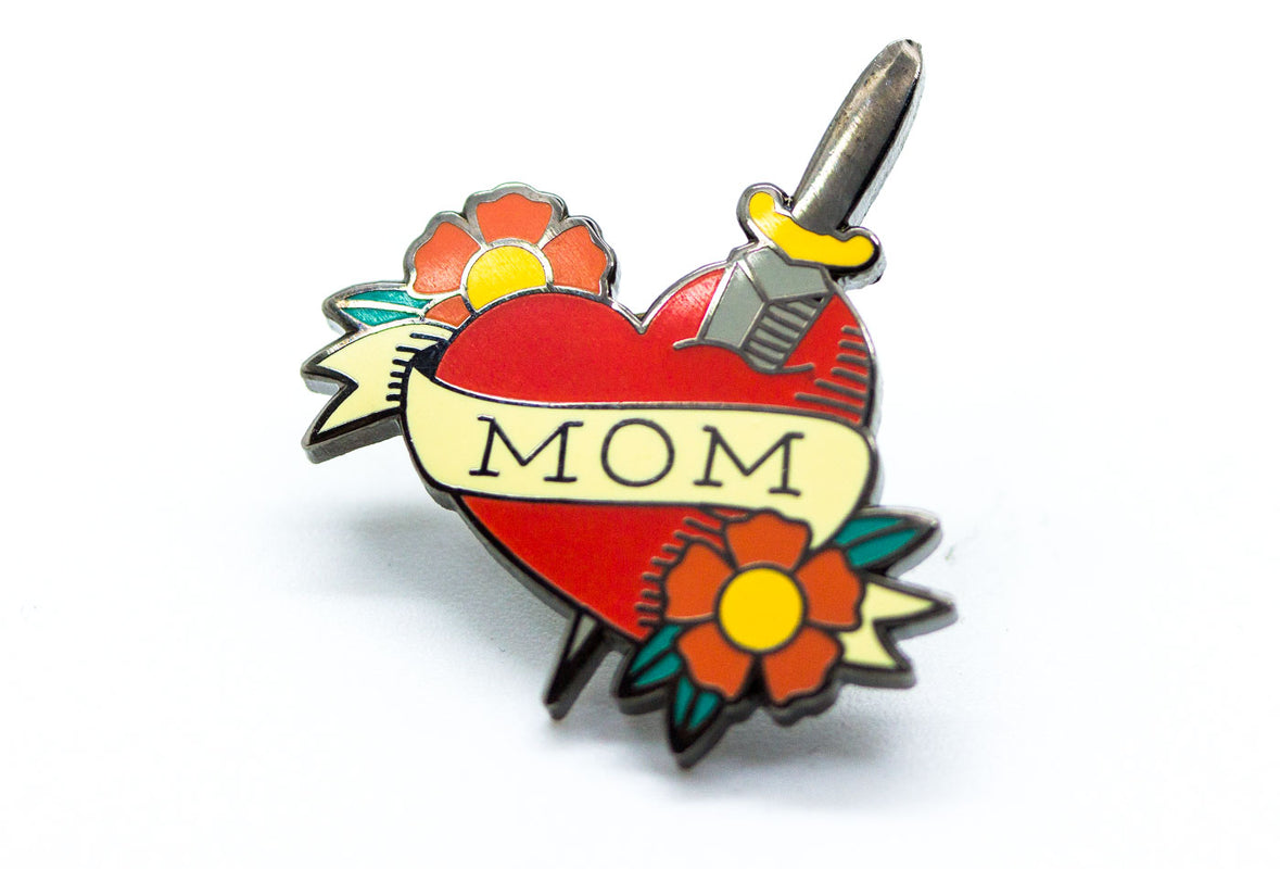 Mom Tattoo Heart Pin