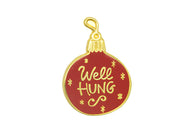 """Well Hung"" Bulb Pin - Gold on Red"