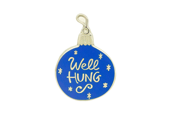 """Well Hung"" Bulb Pin - Silver on Blue"
