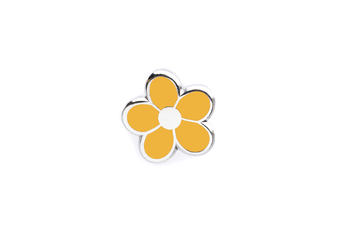 Mini Flower Pin - Orange and Silver
