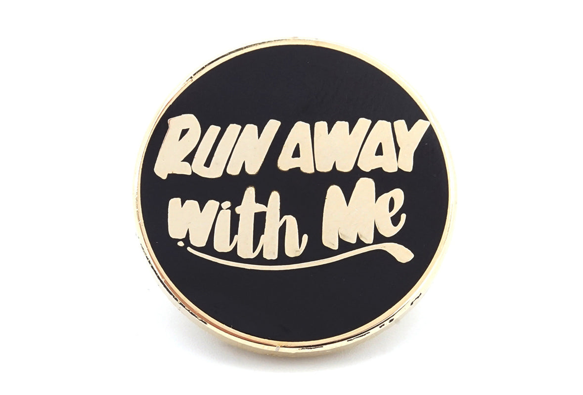 Run Away Pin - Black/Gold