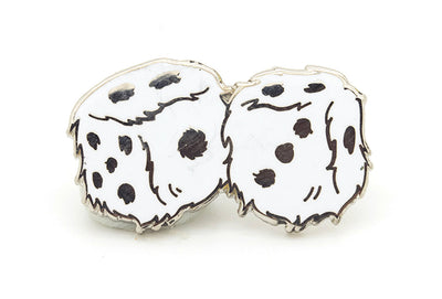 Fuzzy Dice Pin - White