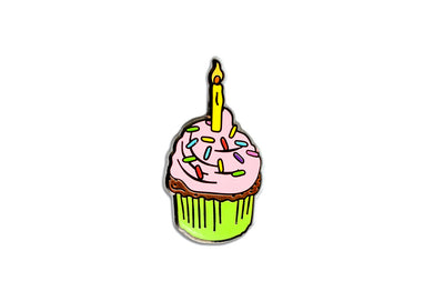 Birthday Cupcake Pin - Pink & Yellow