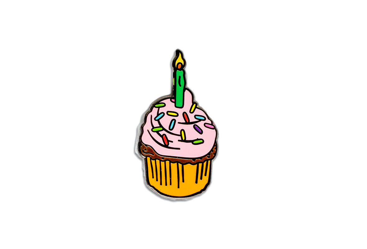 Birthday Cupcake Pin - Pink & Orange