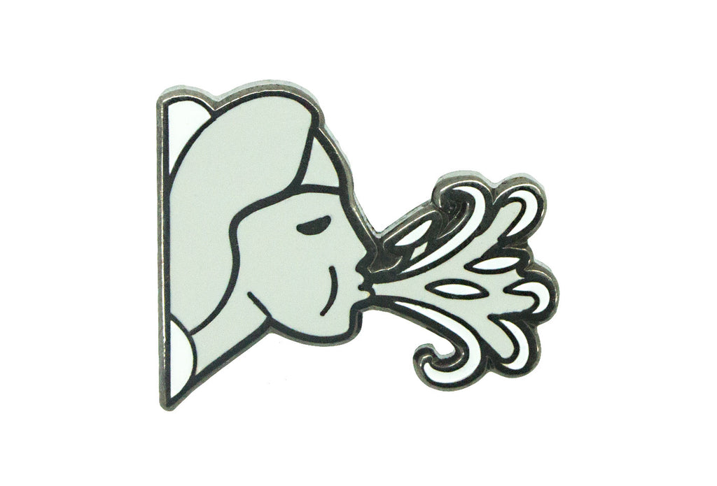 Girl Blowing Wind Pin