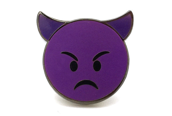 Angry Devil Pin - Black and Purple