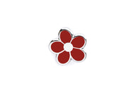 Mini Flower Pin - Red and Silver