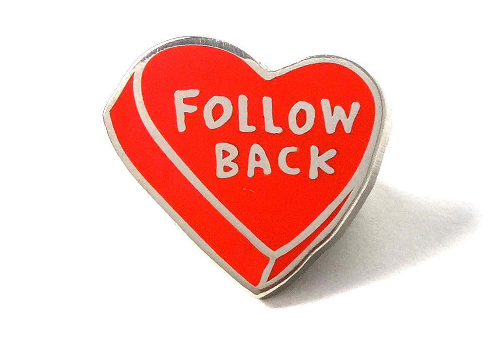 Follow Back Pin - Red and Silver