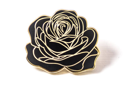 Dedication Rose Pin - Black and Gold