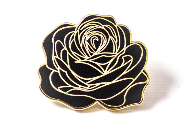 Careaux - Dedication Rose Pin - Black and Gold