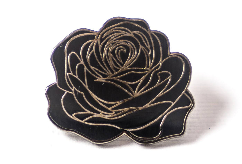 Dedication Rose Pin - Black on Black