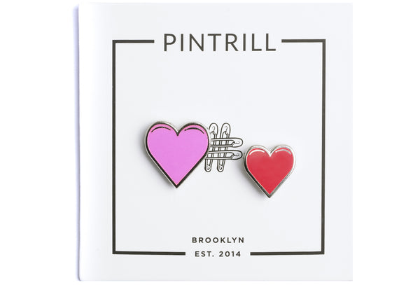 Heart Couple Pins - Pink and Red