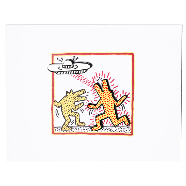 Keith Haring - Untitled 1982 Postcard and Pins