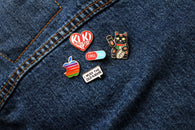 Chill Pill Pin - Blue and Red