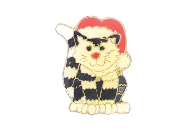 Vintage Cat Wearing a Christmas Hat Pin