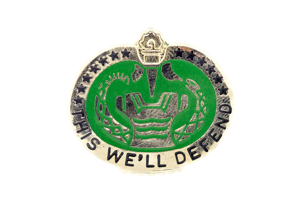 "Vintage ""We'll Defend"" Military Pin"
