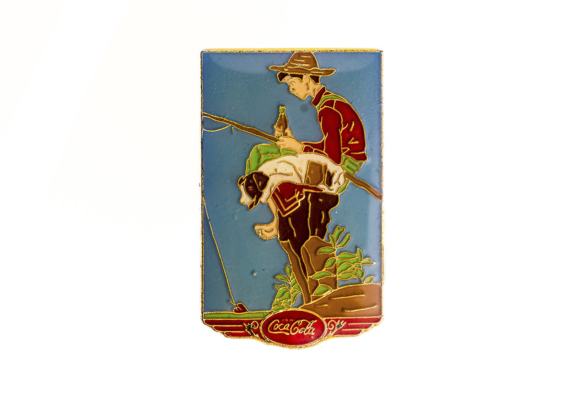 Vintage Coca-Cola Boy Fishing Pin