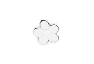 Mini Flower Pin - White and Silver
