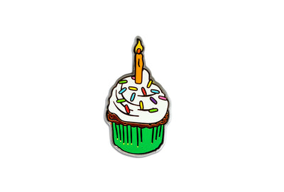 Birthday Cupcake Pin - White & Green